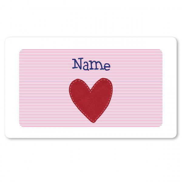 Brettchen rosa mit Herz und mit Namen personalisiert