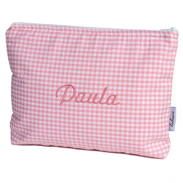 Kulturtasche für Kinder in rosa mit Namen aufgestickt