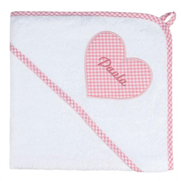 Kapuzenhandtuch rosa mit Kuschelmotiv Herz und Namen personalisiert