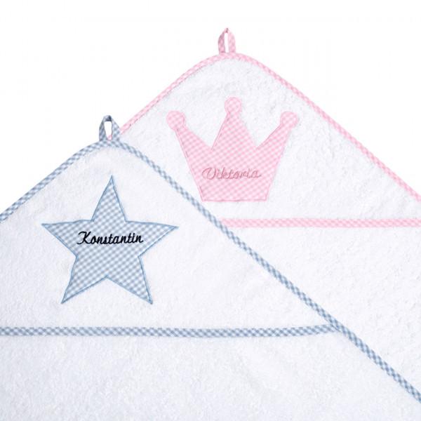 Kapuzenhandtuch mit Waschlappen aus Frottee mit Motiv und Namen personalisiert