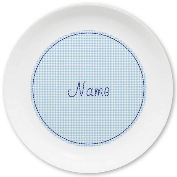 Großer Teller in hellblau kleinkariert und Namen personalisiert