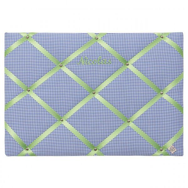 Memoboard royalblau-apfelgrün personalisiert