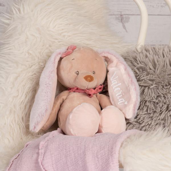 Kuscheltier Hase Rosa mit Namen