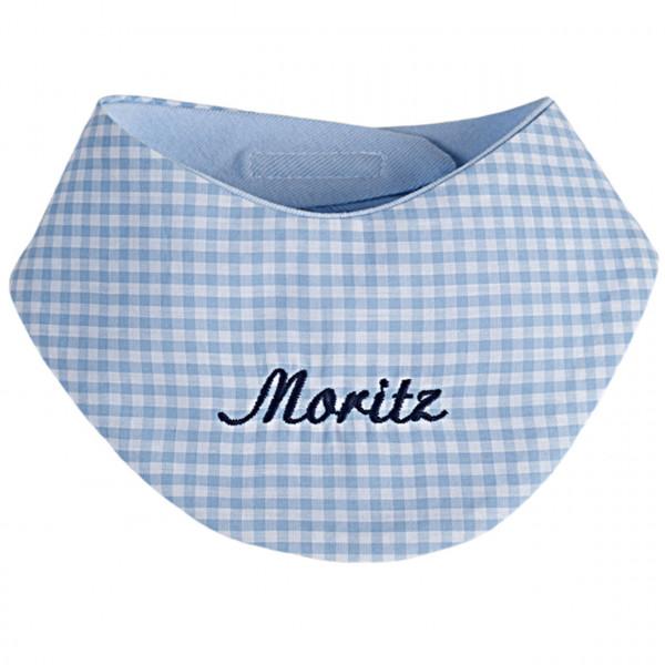 Halstuch mit Namen personalisiert - mit Klett in hellblau vichykaro