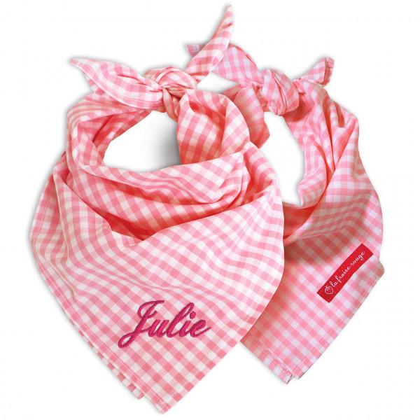 Halstuch mit Namen in vichykaro rosa