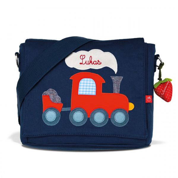 Kindergartentasche Eisenbahn in blau mit Namen