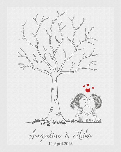 Fingerabdruckbaum mit Hochzeitspaar