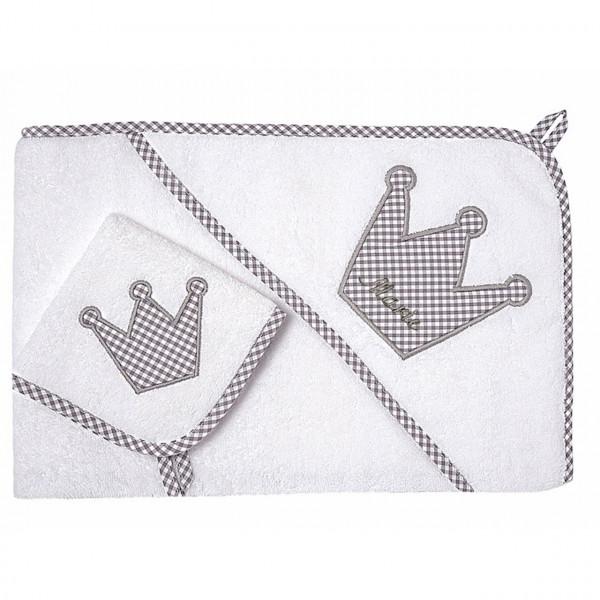 Handtuch Set mit Waschlappen in XL Vichykaro grau und mit Namen personalisiert