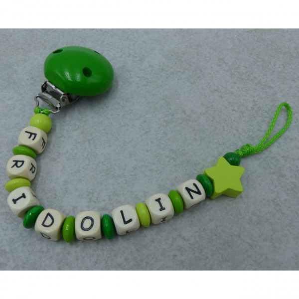 Schnullerkette mit Namen in grün mit Sternchen