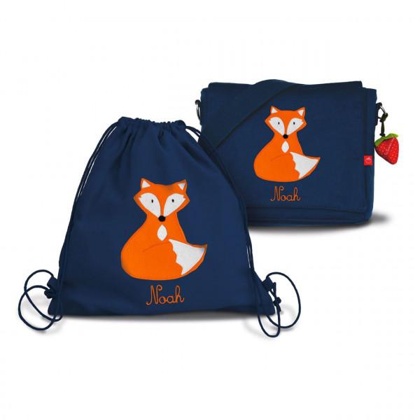 Set für den Kindergarten: Kindergartentasche mit Turnbeutel und Motiv Fuchs, personalisiert mit Namen