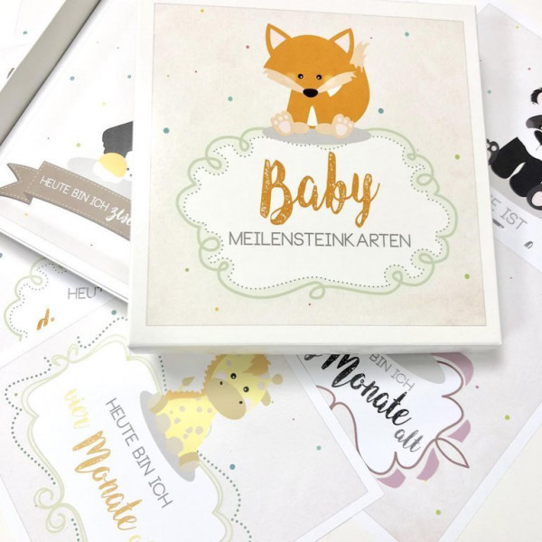 Baby-Meilensteinkarte Deckblatt mit einem kleinen Fuchs