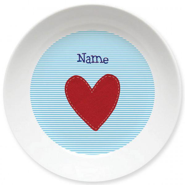 Großer Teller mit Herz in hellblau und Namen personalisiert