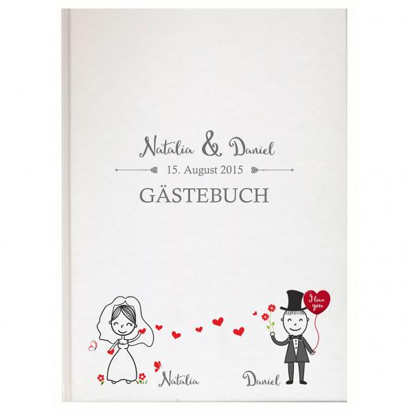 Gästebuch zur Hochzeit | Brautpaar gezeichnet