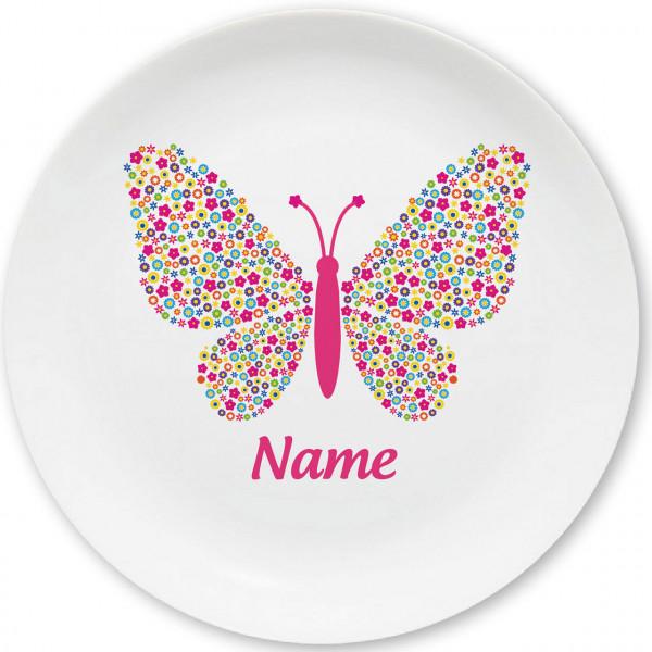 Großer Teller Schmetterling mit Namen personalisiert