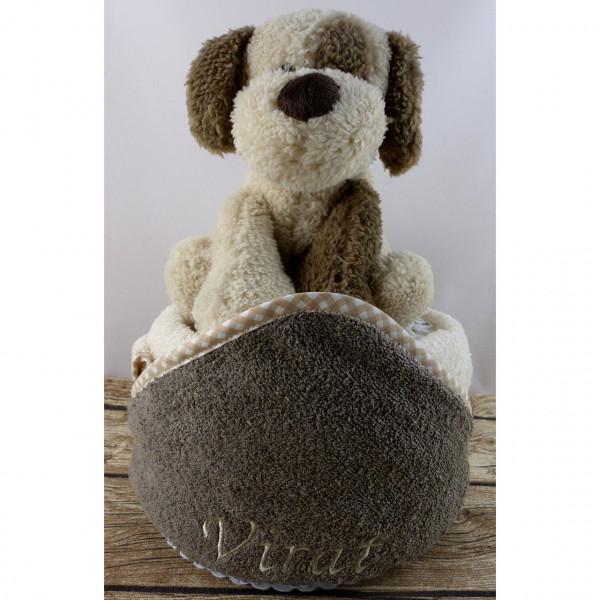 Windeltorte Hund mit besticktem Kapuzenhandtuch