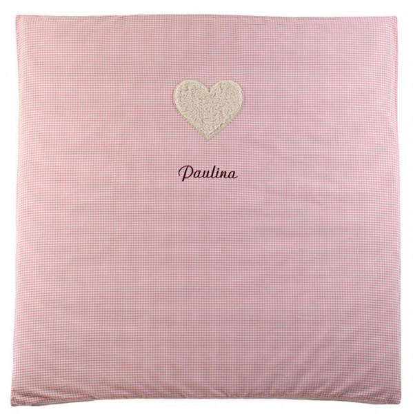Krabbeldecke in rosa mit Namen und Kuschelmotiv Herz