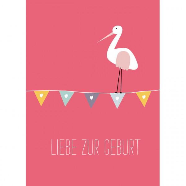 """Karte """"Liebe zur Geburt"""" rot"""