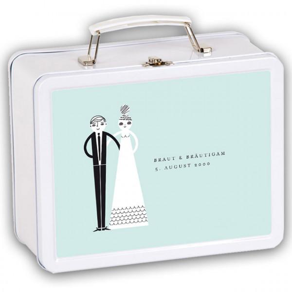 Hochzeitskoffer Brau und Bräutigam in hellblau mit Namen und Datum personalisiert Vorderseite