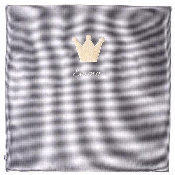 Krabbeldecke in grau mit Kuschelmotiv Krone mit Namen