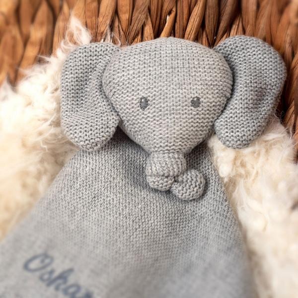 Schmusetuch Strick Elefant mit Namen