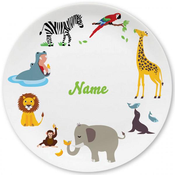 Großer Teller mit Zootieren und Namen personalisiert