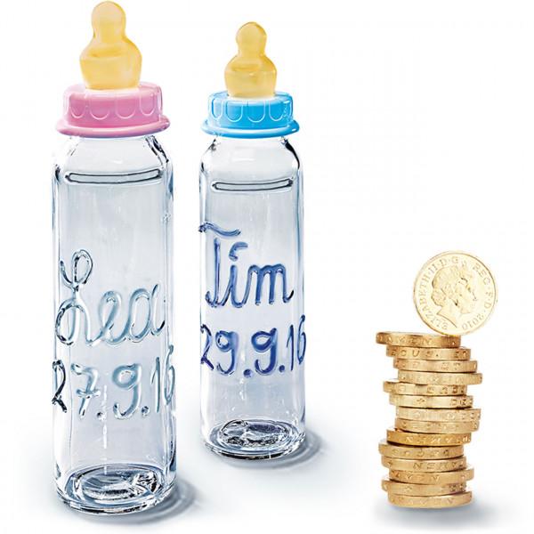 Babyflasche als Spardose mit Namen und Geburtstag