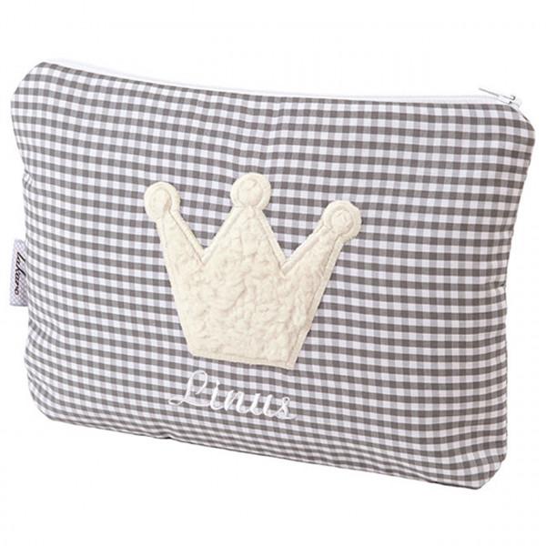 Kulturtasche für Kinder in grau mit Plüsch-Applikation Krone und Namen des Kindes
