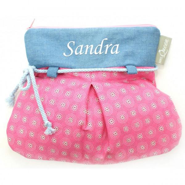 Kulturtasche in Rosa und Hellblau mit Namen