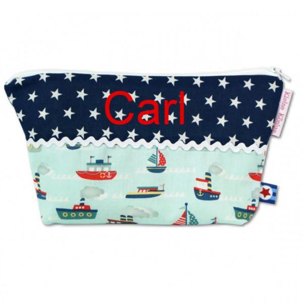 Kulturtasche mit Booten in Blau