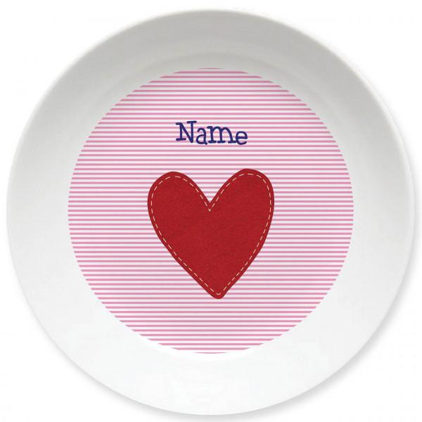 Großer Teller mit Herz in rosa und Namen personalisiert