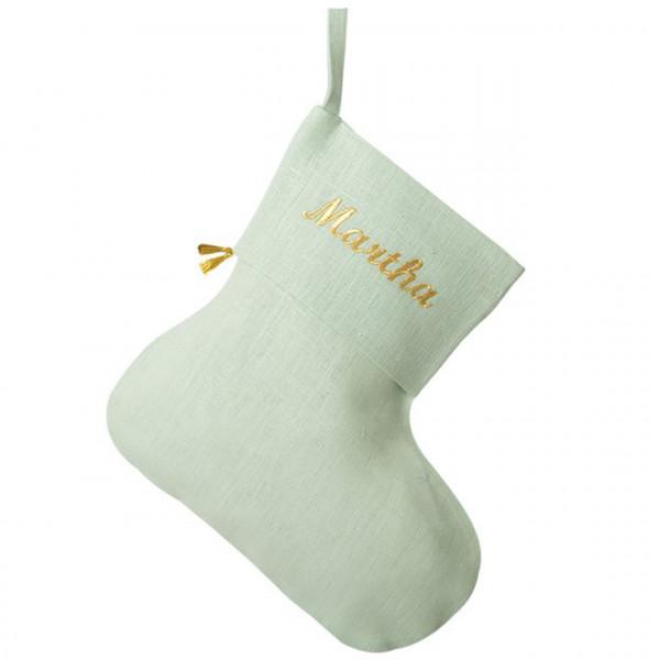 Nikolausstiefel personalisiert aus Leinen in mint-gold