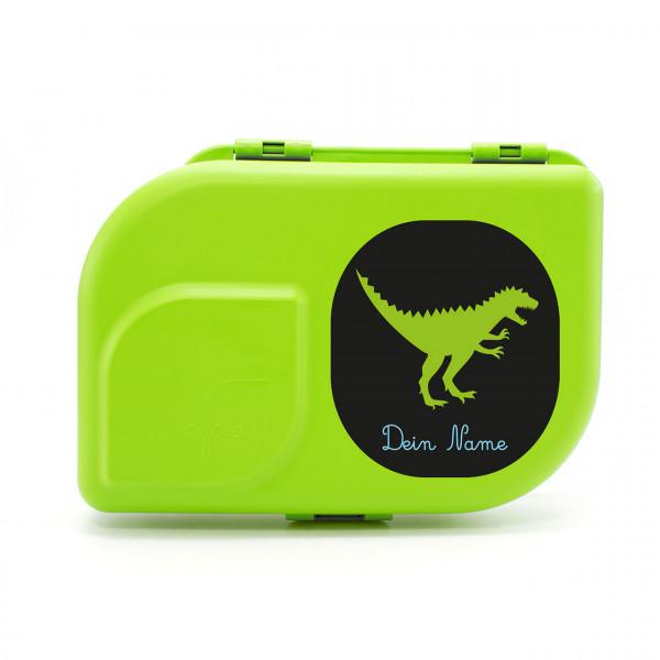 Bio-Brotdose blau mit Motiv Dino