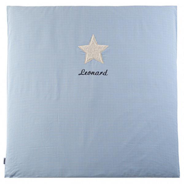 Krabbeldecke in hellblau mit Namen und Kuschelmotiv Stern