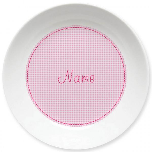 Großer Teller in rosa kleinkariert und Namen personalisiert