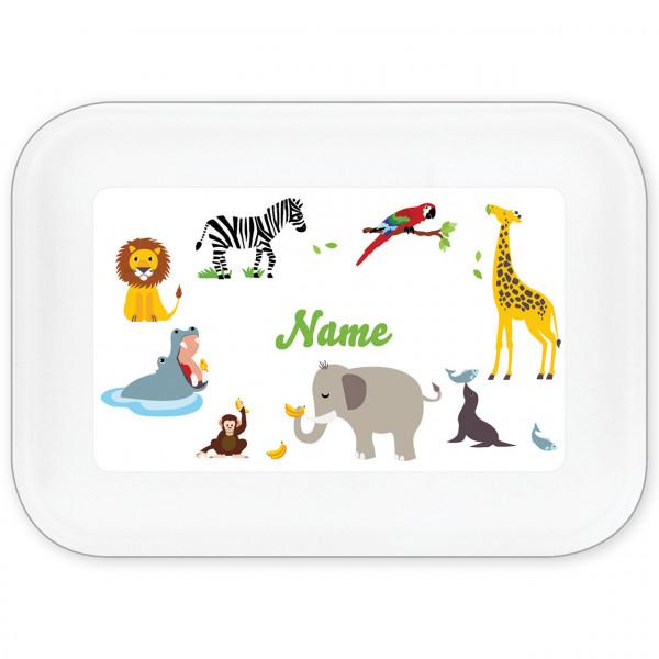 Brotdose Zootiere mit Namen personalisiert