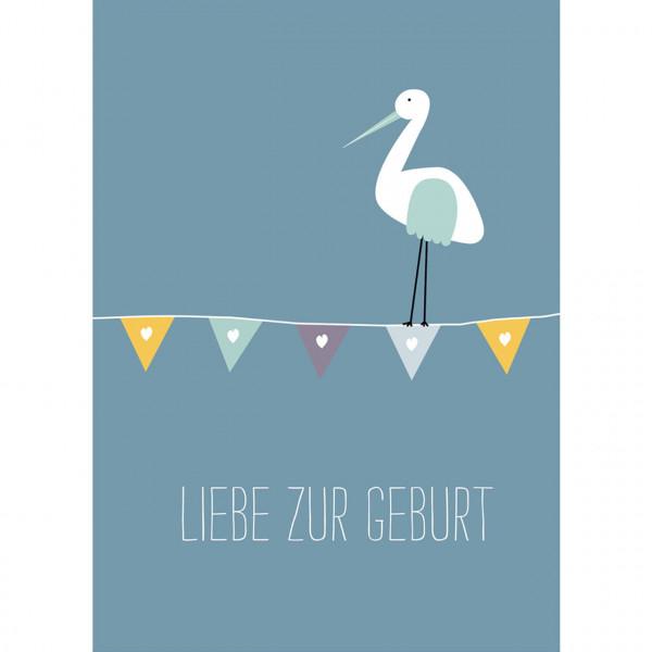 """Karte """"Liebe zur Geburt"""" blau"""