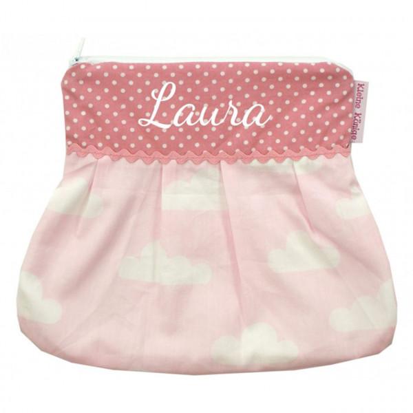 Kulturtasche mit Wolken aus rosa