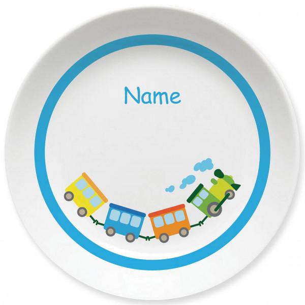 Großer Teller mit Eisenbahn und Namen personalisiert