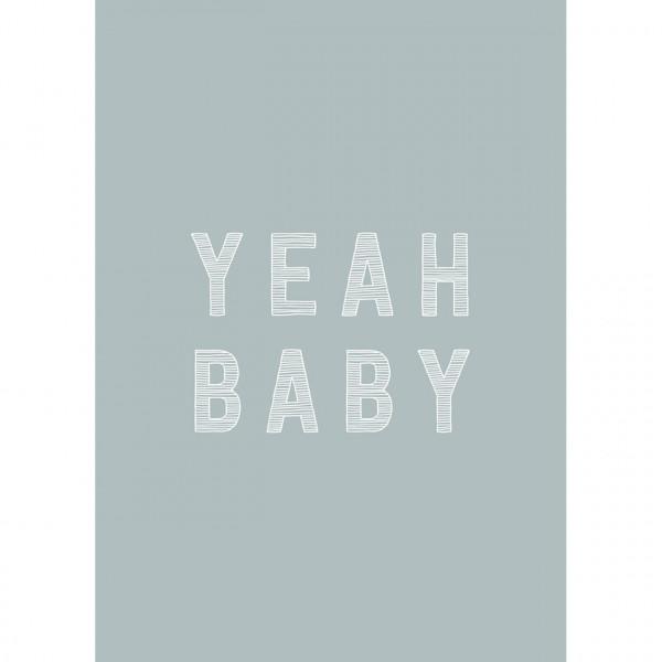 "Postkarte zur Geburt ""Yeah Baby"" blau"