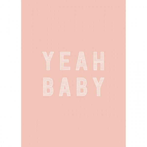 """Postkarte zur Geburt """"Yeah Baby"""" rosa"""