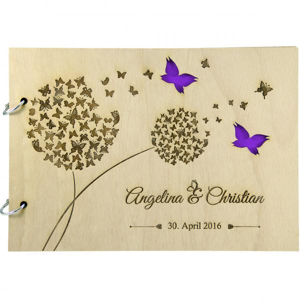 Rustikales Gästebuch | Pusteblume und Schmetterling