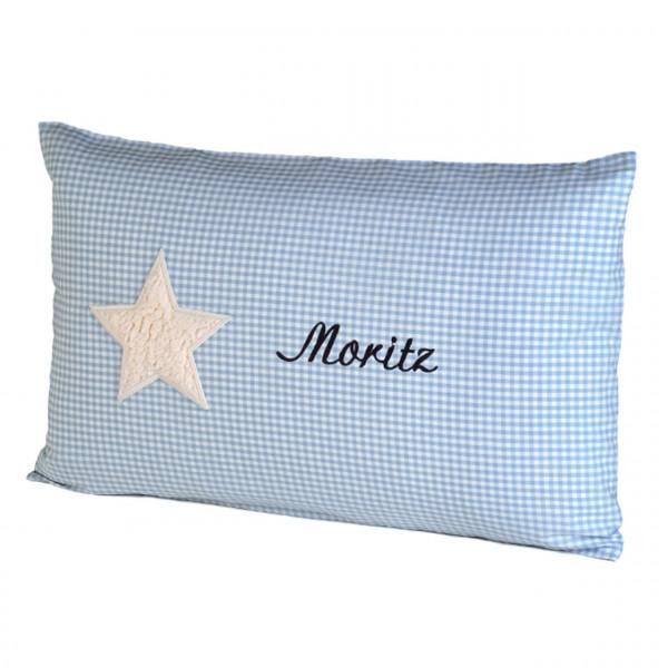 Kuschelkissen mit Kuschelmotiv Stern in vichykaro blau und mit Namen personalisiert