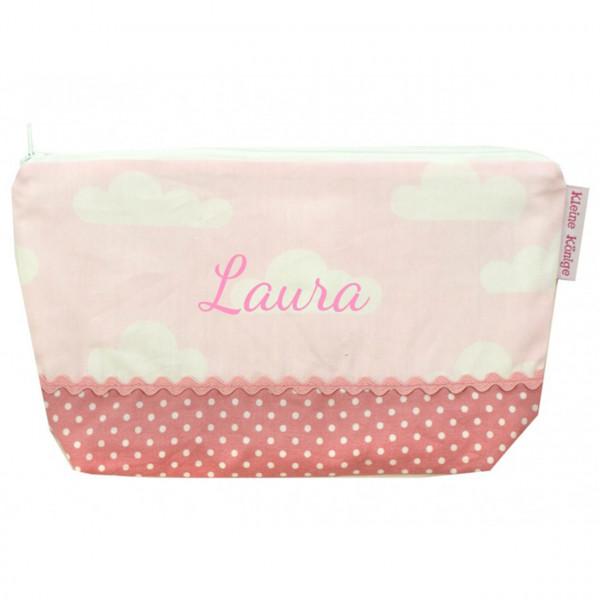 Kulturtasche in rosa mit Wolken
