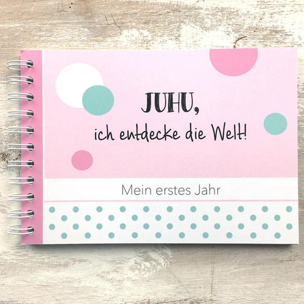 """Baby Erinnerungsbuch """"Mein erstes Jahr"""" rosa"""