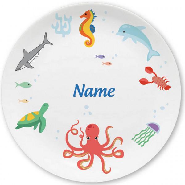 Großer Teller mit Meerestieren und Namen personalisiert