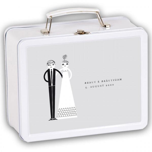Hochzeitskoffer Brau und Bräutigam in grau mit Namen und Datum personalisiert Vorderseite