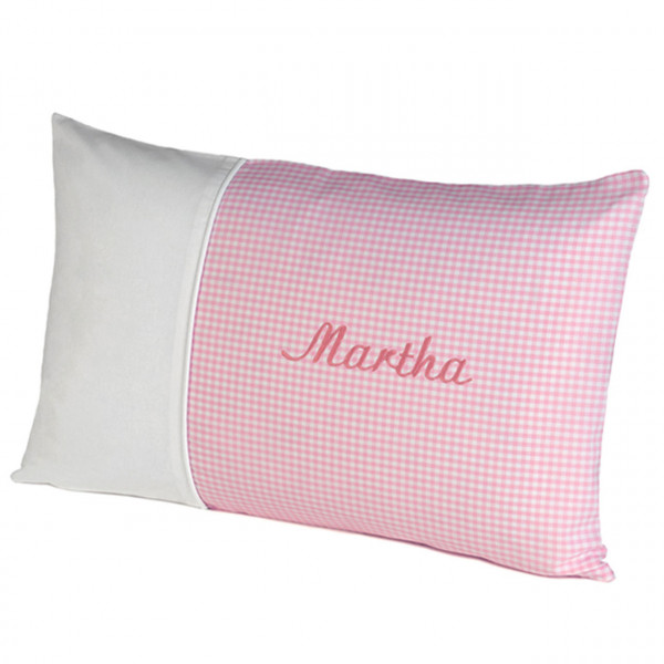 Kissen lang Nostalgie in vichykaro rosa mit Namen personalisiert