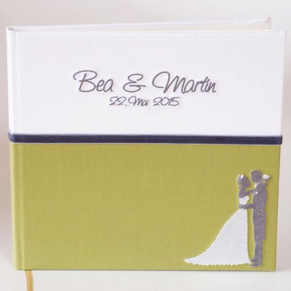 Gästebuch zur Hochzeit Grün mit Brautpaar Vorschau