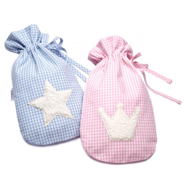 Wärmflasche für Babys mit Kuschelmotiv in rosa oder blau