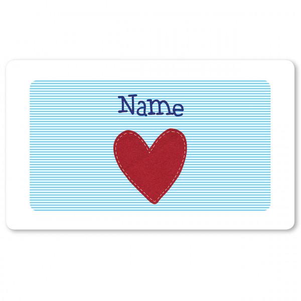 Brettchen hellblau mit Herz und mit Namen personalisiert